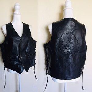 Leather Eagle Biker Lace-up Side Black Moto Vest